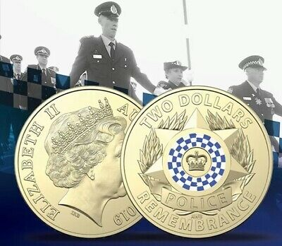 1x Coin 2019 Australian 2 Police Remembrance Uncirculated Two Dollars Unc Coins