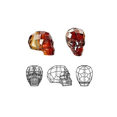 Swarovski Crystal Glass Beads Faceted Skull 5750 Red Magma 14x13x10mm