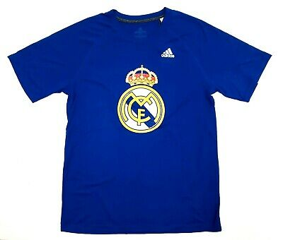 Real Madrid Mens Red Tiled Team Crest T-shirt adidas Climalite Performance