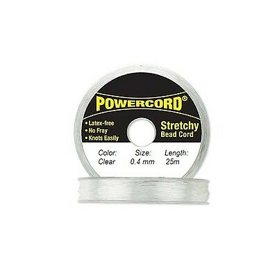 Powercord Elastic Cord Clear 0-4mm diameter 27-3 yards  25 meters