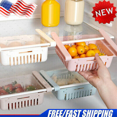 Stretchable Drin Storage Rack Refrigerator Partition Layer Organizer for Kitchen