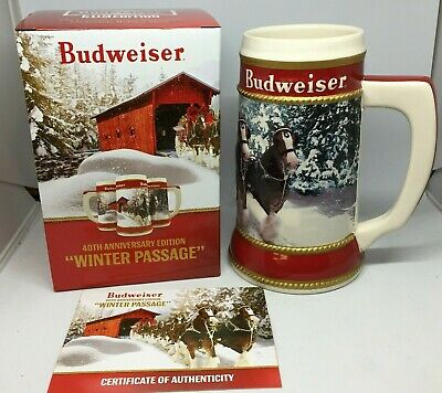 2019 Budweiser Holiday stein beer mug frm annual Christmas series WINTER PASSAGE