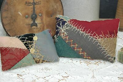 Antique Crazy Quilt Pin Keep Doll Pillow Pair Detailed Stitching