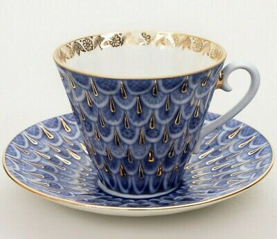 Forget-Me-Not Teacup w Saucer by Imperial Porcelain Russian Lomonosov LFZ IFZ