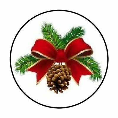 48 CHRISTMAS PINE CONE BOW ENVELOPE SEALS LABELS STICKERS 1-2 ROUND