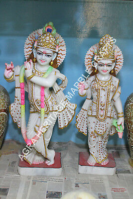 30 Marble Radha Krishna Hand Painted Design Religious Gift Decorative H5759A
