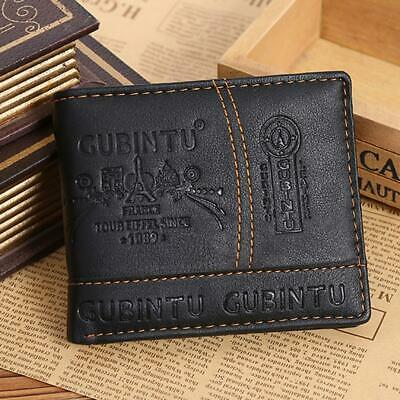 Men Leather Bifold Wallet CreditID Card Receipt Holder Protable Coin Purse Gift