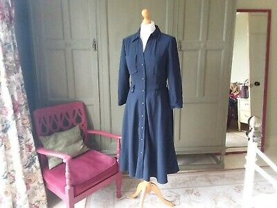CLASSIC LADIES JAEGER NAVY CREPE SHIRT DRESS UK 8 10 LINED KATE MIDDLETON