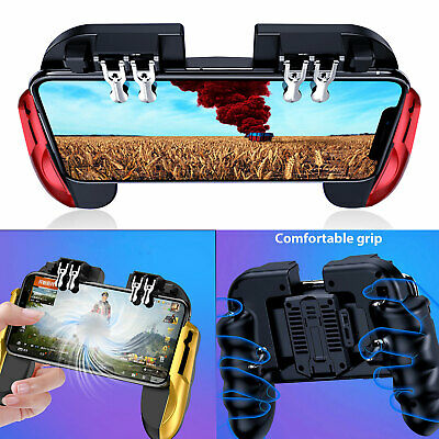 For PUBG Fortnite Six-Finger Gaming Mobile Phone Controller Gamepad w Cool Fan