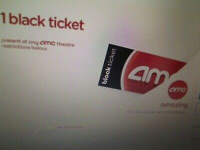 AMC Theaters 1 Black Movie Ticket No Expiration Email Delivery