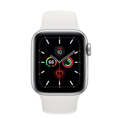 Apple Watch Gen 5 Series 5 40mm Silver Aluminum - White Sport Band MWV62LLA