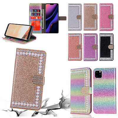 Bling Glitter Magnetic Flip Leather Wallet Stand Case Cover Fr iPhone 11 Pro Max