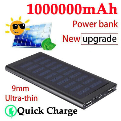 1000000mAh Solar Power Bank Waterproof 2 USB LED Battery Charger External Fast