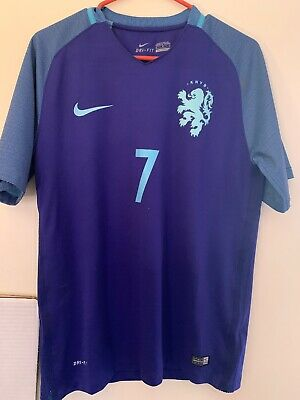 Netherlands DriFit Authentic Nike 2016 Home Soccer Jersey Blue World Cup Size M