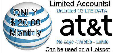 Unlimited Data Plan 4G LTE AT-T UnThrottled No Cap Hotspot 34-99 ZTE