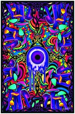 SHROOM WITH A VIEW - MUSHROOM BLACKLIGHT POSTER - 23X35 FLOCKED 53963
