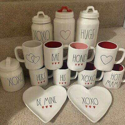 RAE DUNN Valentines Day XOXO BAE BE MINE Heart Decoration Mug Plates Canister