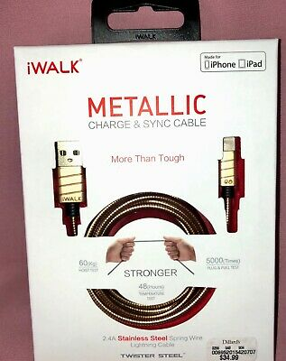 4ft Metallic iWalk Durable Stainless Steel Charge - Sync Lightning to USB Cable