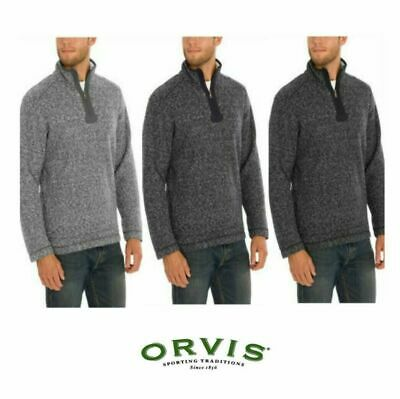 NWT Mens Orvis Brighton Sherpa Lined Sweater 14 Zip Warm Layering Variety