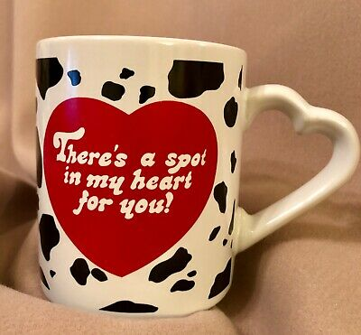 Valentine Love There's Spot in My Heart for you Dalmatian Spots Heart Handle Mug