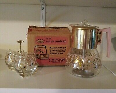 Libbey Glass Duchess Design Coffee Percolator And SugarCreamer Dishes Pyrex
