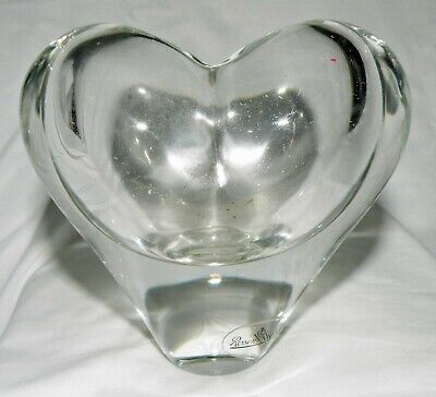 VINTAGE ROSENTHAL CRYSTAL HEART VASE PAPERWEIGHT-WITH LABEL
