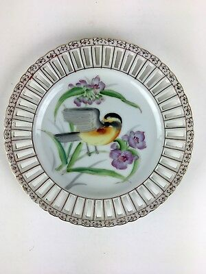 UCAGCO CHINA JAPAN HAND PAINTED BIRD GOLD TRIM OPEN EDGE PLATE