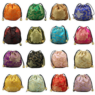 US 1632 Silk Brocade Jewelry Pouch Bag Drawstring Coin Purse Gift Bag Value Set