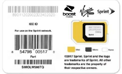Sprint Boost Virgin SIM SIMOLW506TQ 3-in-1