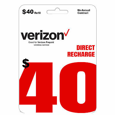 VERIZON Prepaid 40 Refill Top-Up Prepaid Card  DIRECT RECHARGE