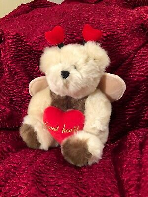 Plush Bear Dressed As Love Bug Holding Heart With Sweetheart Children