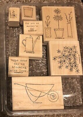 Stampin Up 8PC Wood Mt Blooming With Love Stamp Set
