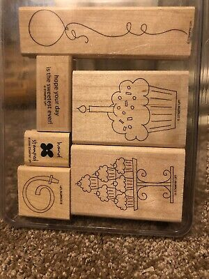 Stampin Up Crazy For Cupcakes Wood Mount Stamp Set Birthday