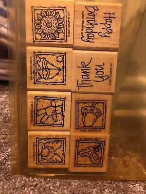 2001 Stampin Up Anytime Greetings RETIRED set of 8 wood mounted rubber stamps