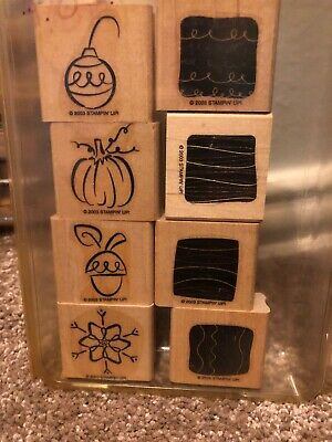 STAMPIN UP LITTLE LAYERS II RUBBER STAMPS CHRISTMAS BULB SNOWFLAKE