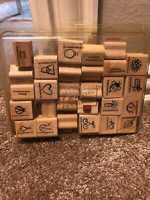 STAMPIN UP GOOD TIMES WORDS MINI HEART BEE RUBBER STAMPS SET 28 WOOD EUC A14723