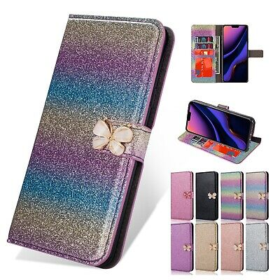 Bling Butterfly Flip Leather Wallet Stand Phone Case Cover For iPhone 11 Pro Max