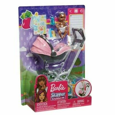 BARBIE SKIPPER BABYSITTERS INC BABY WITH CARRIER  STROLLER 100 BRAND NEW