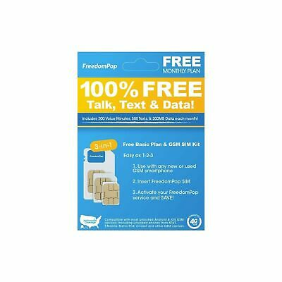 FreedomPop Nationwide 4G LTE 3-in-1 Basic Free SIM Card Kit NEW