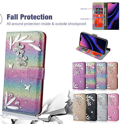 For iPhone 11 Pro Max Bling Diamonds Flip Leather Wallet Stand Phone Case Cover