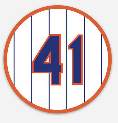 """Tom Seaver 41 Retired Number New York Mets Sticker 3"""" X 3"""" FREE SHIPPING"""