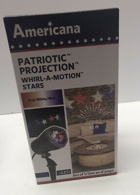 Patriotic Projector Whirl-A-Motion Stars Fourth Of July LED Stars Red White Blue