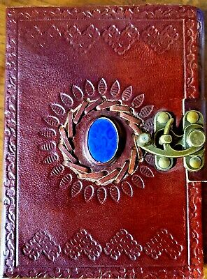 Embossed Leather Blue Stone 100 Page Unlined Journal with Clasp Gift for HerHim
