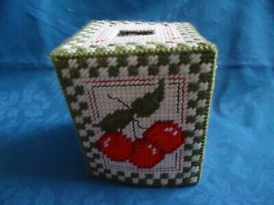 Cherries  Handcrafted Needlepoint Plastic Canvas Tissue Box Cover
