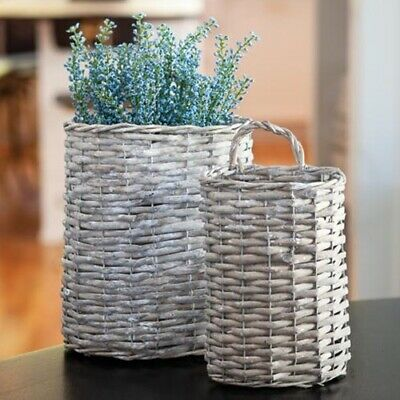 NEW Primitive Country Farmhouse Hanging Vintage Gray Willow Wall Baskets-Set 2