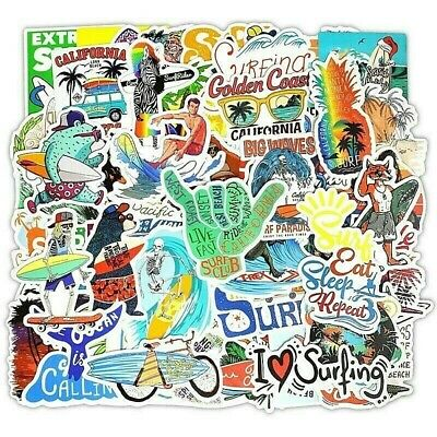 Surf Sticker Lot Local Motion Pack 50 Pcs for Surfboard Laptop Luggage Bicycle