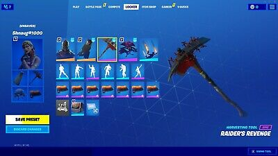 OG STACKED EXCLUSIVE FORTNITE ACCOUNT WITH RAREST ITEM IN GAME RAIDERS REVENGE