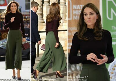 JIGSAW - Kate Middleton - Khaki Green Relaxed Crop Wide Leg Culottes Size 12