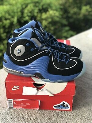 NIKE AIR PENNY II USED SZ 9 SOLE COLLECTOR BLACK VARSITY BLUE SILVER 333886 005