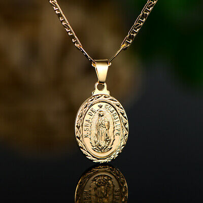 Sevil 18K Gold Plated Mary Guadalupe Pendant With Flat Marina Chain Necklace